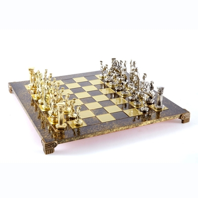 S11BRO Manopoulos Greek Roman Period chess set with gold-silver chessmen/Brown chessboard 44cm