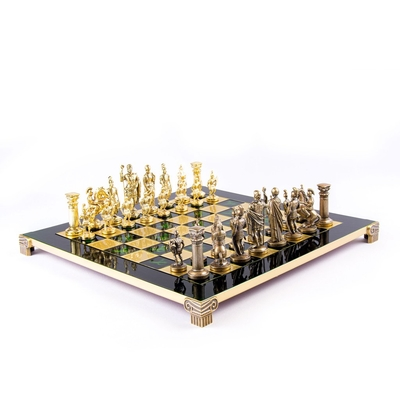 S11CGRE Manopoulos Greek Roman Period chess set with gold-bronze chessmen/Green chessboard 44cm