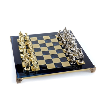 S12BLU Manopoulos Medieval Knights chess set with gold-silver chessmen/Blue chessboard 44cm
