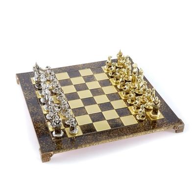 S12BRO Manopoulos Medieval Knights chess set with gold-silver chessmen/Brown chessboard 44cm