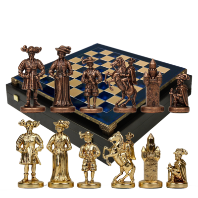 S12CBLU Manopoulos Medieval Knights chess set with bronze-gold chessmen/Blue chessboard 44cm