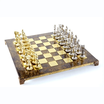 S9BRO Manopoulos Renaissance chess set with gold-silver chessmen/Brown chessboard 36cm