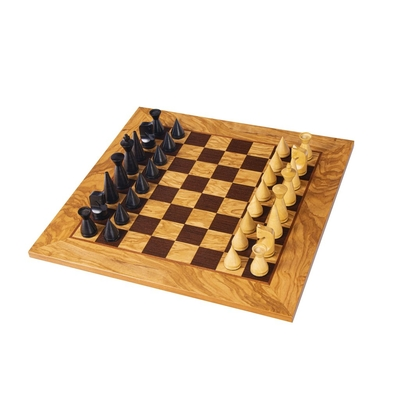 SW4040H Manopoulos Olive Burl chessboard 40cm with modern style chessmen 7.6cm in luxury wooden gift box