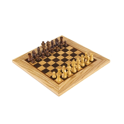 SW4234H Manopoulos Olive Burl Chessboard 34cm with wooden Staunton Chessmen in Luxury Wooden Box