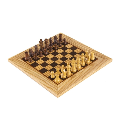 SW43B40H Manopoulos Olive Burl Chessboard 40cm with Staunton Chessmen